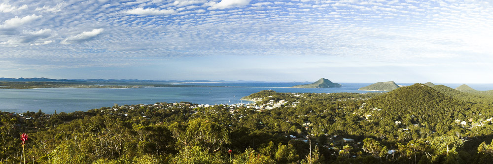 View over Nelson Bay from Gan Gan lookout
