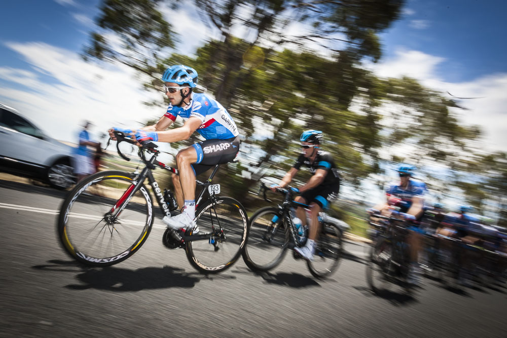 Australian Garmin Sharp rider Nathan Haas tackles Menglers Hill. Santos Tour Down Under 2014.