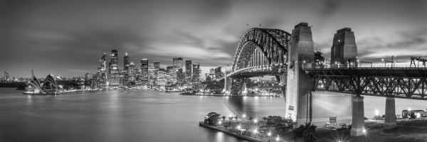 Black and white picture of sydney harbour sydney nsw australia