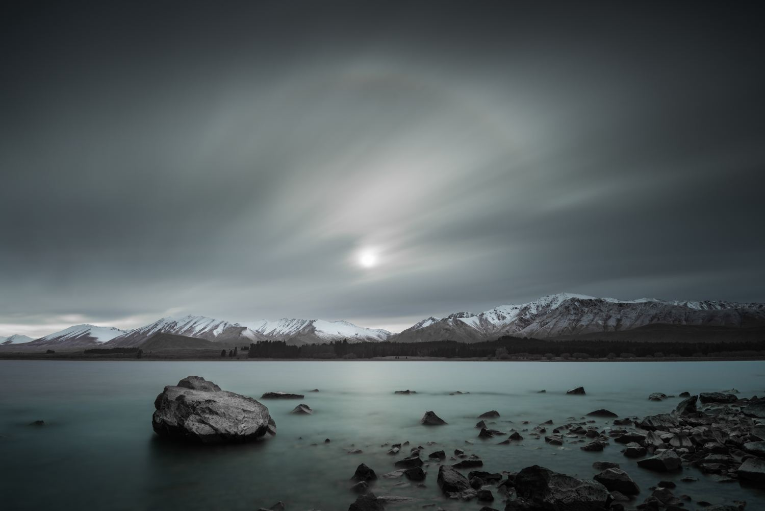 Sun Arc, Lake Tekapo, Lake Tekapo, Canterbury, South Island, New Zealand